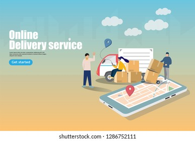 Online delivery service concept, online order tracking,can use for, landing page, template, ui, web, mobile app, poster, banner, flyer