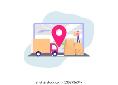 Online delivery service concept, online order tracking, vector illustration concept for web landing page template, banner, flyer and presentation.