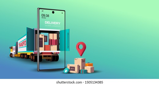 Online delivery service concept, online order tracking,Logistics and Delivery, on mobile Vector. illustration