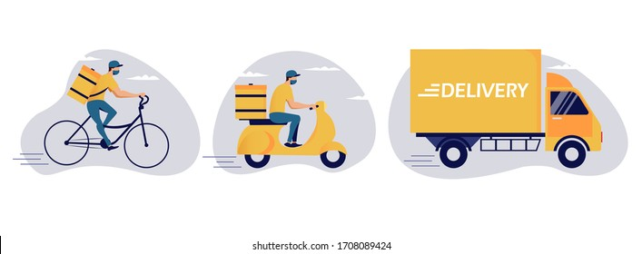 Online delivery service concept, online order tracking, delivery home and office. Warehouse, truck, scooter and bicycle courier, delivery man in respiratory mask. Vector illustration art