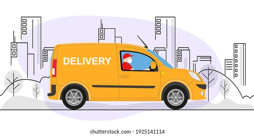 Online delivery service concept, online order tracking, delivery home and office. Warehouse, truck, delivery man in respiratory mask. Vector illustration. - Shutterstock ID 1925141114
