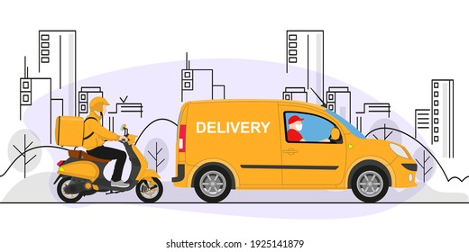 Online delivery service concept, online order tracking, delivery home and office. Warehouse, truck, scooter, delivery man in respiratory mask. Vector illustration.