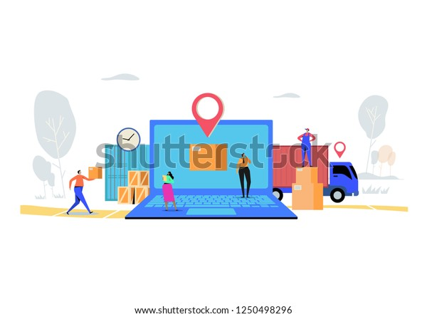 Online Delivery Service Concept Order Cargo Stock Vector