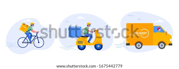 Online delivery service concept, online order tracking, delivery home and office. Warehouse, truck, drone, scooter and bicycle courier, delivery man in respiratory mask. Vector illustration