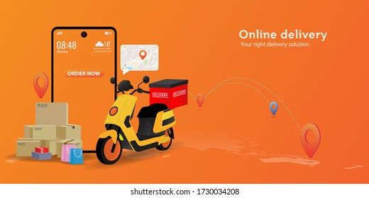 Online delivery service concept. Perfect for landing page, delivery website, banner, background, application, poster, on mobile. Horizontal view
