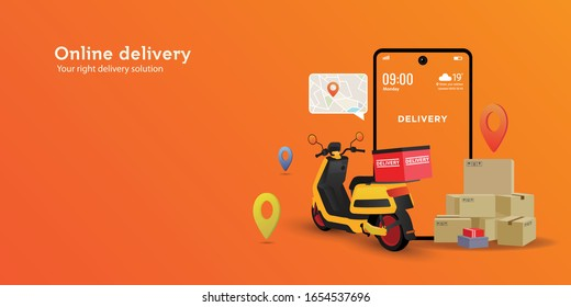 Online delivery service concept.perfect for landing page, delivery website, banner, background, application, poster, on mobile. Horizontal view