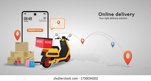 Online delivery service concept.perfect for landing page, delivery website, banner, background, application, poster, on mobile.vector illustration