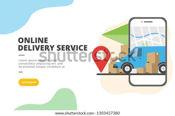 Online Delivery Service flat design banner illustration concept for digital marketing and business promotion
