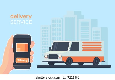 Online delivery service illustration. Smartphone in hand with mobile app for online ordering of goods with delivery. Multi-stop truck or step van on city background. Flat slyle.