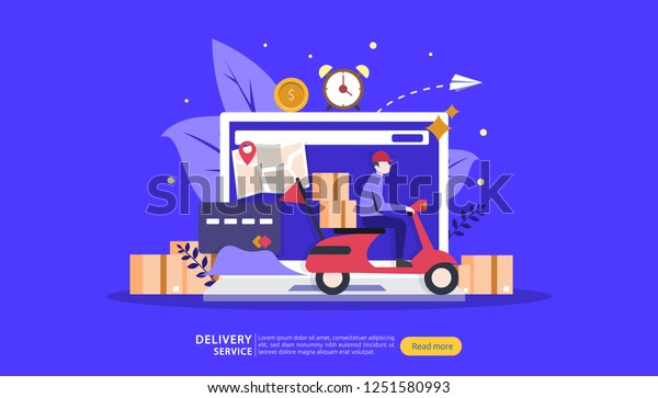 Online Delivery Service Order Express Tracking Stock Vector (Royalty