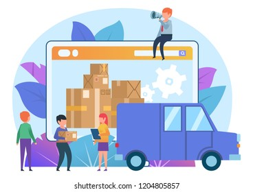 Online delivery service. Small people stand near delivery boxes, packages, truck. Poster for banner, social media, web page, presentation. Flat design vector illustration