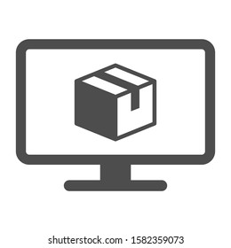 Online delivery service vector icon isolated on white background. Desktop computer with express delivery app showing the package. Delivery stock vector illustration for web, mobile and ui design