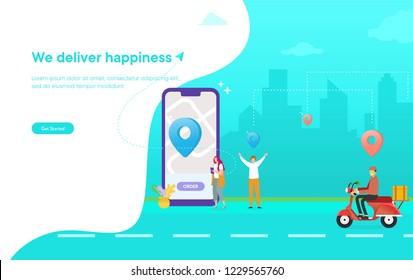 online delivery service vector illustration concept, woman order food via smartphone, man happy waiting his package can use for, landing page, template, ui, web, mobile app, poster, banner, flyer