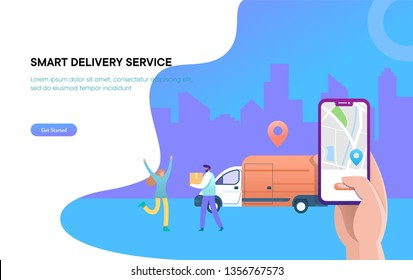 online delivery service vector illustration concept, digital shipping, woman receiving package from courier,  can use for, landing page, template, ui, web, homepage, poster, banner, flyer, homepage