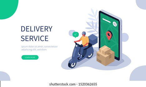 Online Delivery Service Web Banner Template. Courier on Scooter Delivering Parcel Box. Smartphone with Mobile App for Delivery Tracking. Smart Logistic Concept. Flat Isometric Vector Illustration.