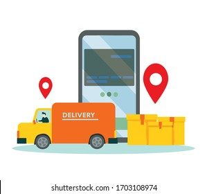 Online Delivery Service Web Banner Template. Courier on Car Delivering Parcel Box. Smartphone with Mobile App for Delivery Tracking. Smart Logistic Concept. Flat Isometric Vector Illustration.