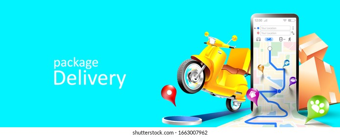 Online delivery services map tracking, scooter ,and package by mobile phone or smartphone with three dimensional concept. Vector illustration