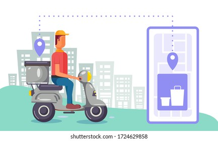 Online delivery from store with delivery boy on a scoot, door to door delivery
