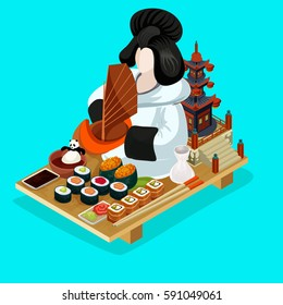 On-line delivery of sushi illustration. Sushi icon. Detailed isometric style sushi  delivery concept. Vector isometric.
