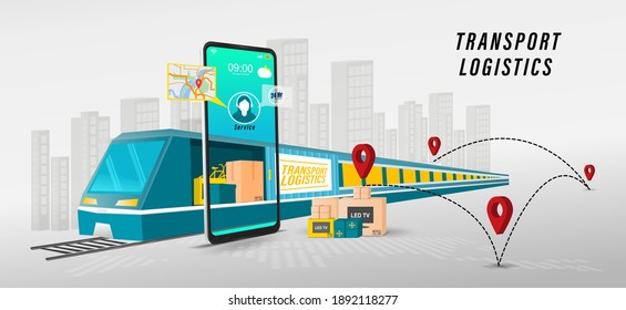 Online delivery transport logistics service concept.  import Integrated warehousing and transportation service. vector illustration