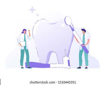 online dental care, isometric  flat character dentist cleaning patient tooth, vector illustration concept, can use for, landing page, template, ui, web, homepage, poster, banner, flyer