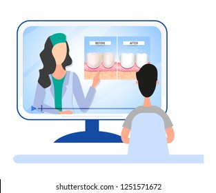 Online dental consultation about dental care and oral cavity. Healthy and diseased teeth. Visual aid for students, dentists, clinic patients. Vector illustration