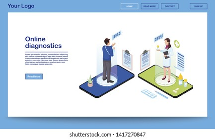 Online diagnostics service isometric website template. Traumatologist prescribing medication, painkillers for patient with broken arm. 3d doctor, client holograms on smartphone screen. Ehealth system