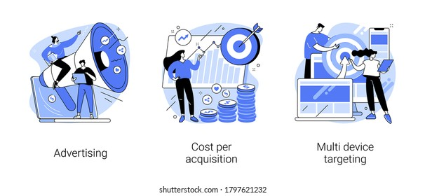Online digital campaign abstract concept vector illustration set. Advertising, cost per acquisition, multi device targeting, target audience, media planning, PPC strategy, promotion abstract metaphor.