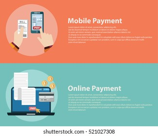 Online digital invoice laptop or mobile smartphone with bills credit card money coins flat illustration