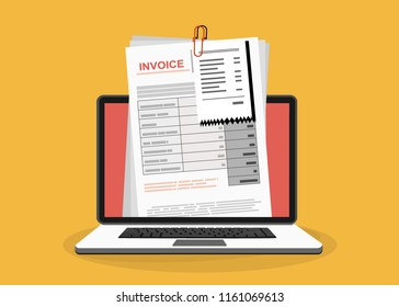 Online digital invoice laptop or notebook with bills, flat design illustration.