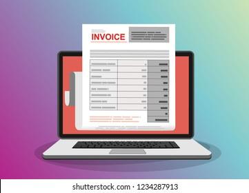 Online digital invoice laptop or notebook with bills, flat design illustration.