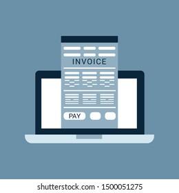 Online digital invoice laptop or notebook with bills, flat design illustration