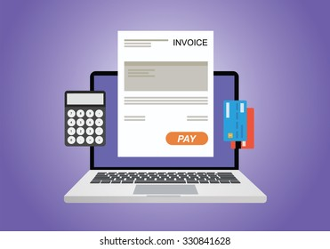 online digital invoice using computer calculator and credit card