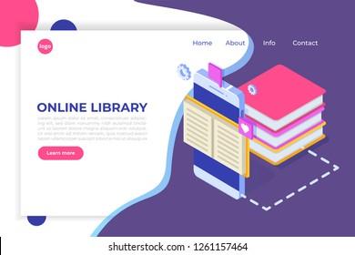 Online digital library isometric, online book shop, e-learning, eBook. Vector illustration.