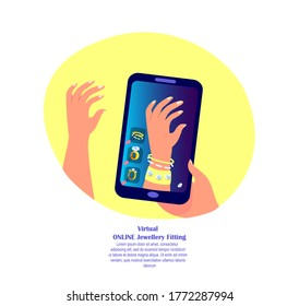 Online Digital Shopping. Virtual 3D Fitting Image. Buy Diamond and Gold Bracelets.Jewellery, Digital Smartphone Bijouterie and Jewelry Internet Market or Shop. Client Consumer. Flat Vector Illustration