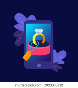 Online Digital Shopping. Wedding Dimond Gold Ring in Smartphone Screen. Buy Jewelery Present for Valentine Day, Birthday, Anniversary in Mobile App Purchase. High Technology. Flat vector illustration