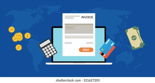 Online digitalinvoice laptop or notebook with calculator credit card money coins flat illustration