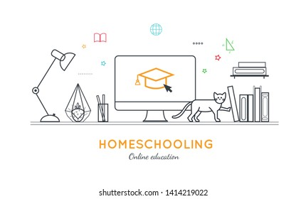 Online distance Education, Homeschooling, e-learning,tutorials, courses concept. Vector illustration in thin flat style.