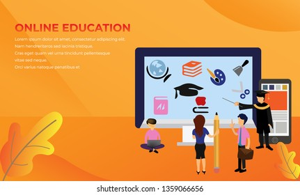 Online Distance Learning Education Tiny People Character  Illustration, Suitable For landing page, template, ui, web, mobile app, poster, banner, flyer,kids cover Book, social media, Card Invitation,