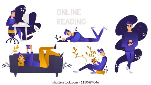 Online distant education concept with young men, male student characters using tablet, laptop smartphone and destop reading or doing research smiling on abstract floral background. Vector illustration