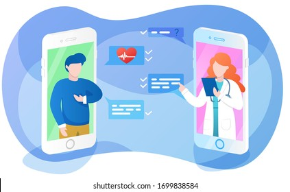 Online doctor app interface, sick man asking therapist about hearth problem, remote medical consultation with physician or cardiologist, vector illustration