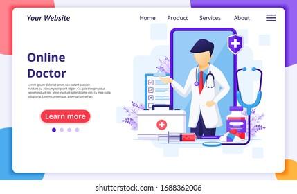 Online doctor concept, online medical health care assitance. Modern flat web landing page design template. Vector illustration