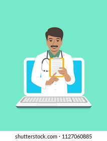 Online doctor concept. Medical internet consultation. Vector flat illustration. Healthcare consulting web service. Indian man physician holds clipboard with treatment. Hospital support by computer