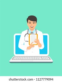 Online doctor concept. Medical internet consultation. Vector flat illustration. Healthcare consulting web service. Asian man physician holds clipboard with treatment. Hospital support by computer