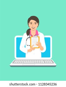 Online doctor concept. Medical internet consultation. Vector flat illustration. Healthcare consulting web service. Asian woman physician holds clipboard with treatment. Hospital support by computer