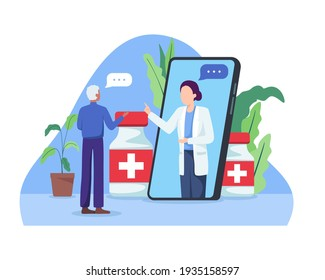 Online doctor concept. Smartphone screen with female doctor, Online chatting, Online consultation. Elderly man making video call with his doctor, Video conference. Vector illustration in a flat style