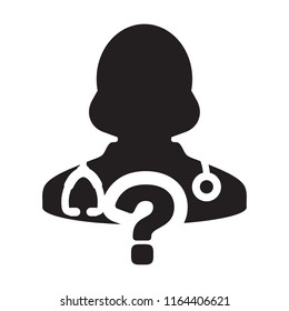 Online doctor consultation icon vector female person profile avatar with question symbol for medical answers in glyph pictogram illustration
