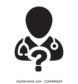 Online doctor consultation icon vector male person profile avatar with question symbol for medical answers in glyph pictogram illustration