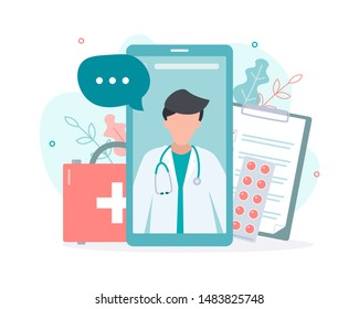 Online doctor consultation via your smartphone. Concept for medical app and websites. Flat vector illustration.