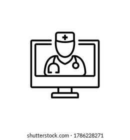 online doctor icon. virtual emergency medical consultation support. Call doctor for ask Healthcare services in mobile,  telemedicine line vector illustration Design on white background EPS10